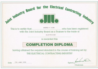 JiB Completion Diploma Certificarte