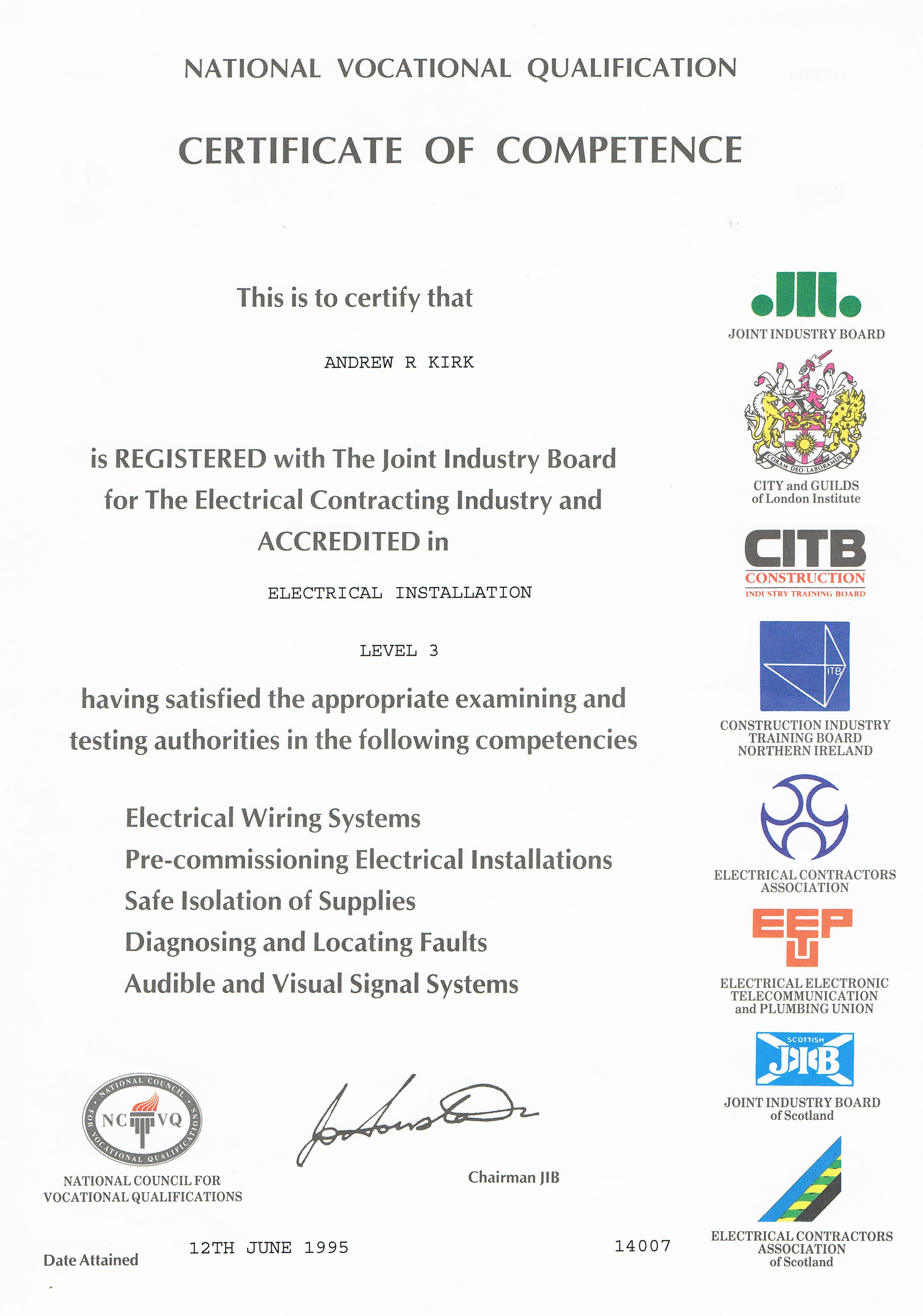 Ak electrical services quality electrical installations nvq electrical installation level 3 certificate xflitez Image collections
